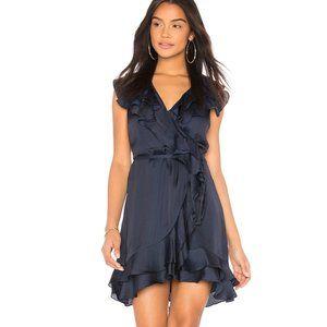 Bardot Ruffle Faux Wrap Blue Satin Mini Dress